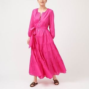 J Crew Pink Belted button-up maxi dress NWT